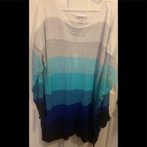 Long Ombré Scoop-neck sweater